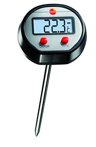 Testo 0560 1110 Mini Einstech-Thermometer bis 150 °C, Länge 133 mm, mit Schutzhülse für Fühlerrohr, gut ablesbares Display, inklusive Batterien