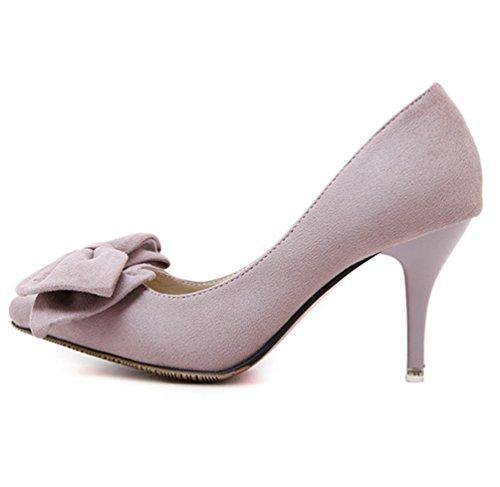 YMXJB Discothèque de daim cuir Western en haut talons chaussures femme light gray