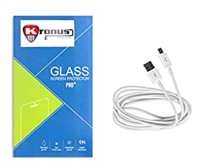 Kronus Micro Usb Data Cable & 2.5D Curve edged Tempered Glass For Google Nexus 4