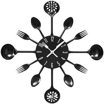 premier housewares 2200502 orologio da parete posate in metallo nero