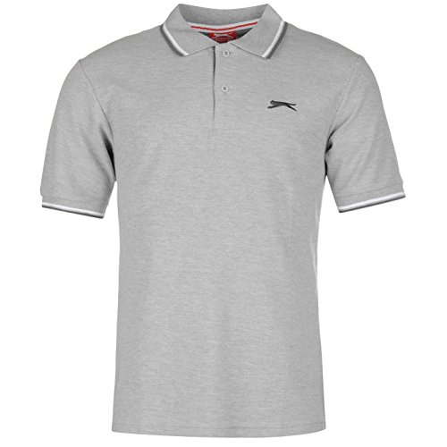 Slazenger Tipped Herren Polo Poloshirt T Shirt Kurzarm Classic Fit Tee Top L (Classic T-shirt-rugby)