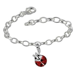 SilberDream Charms Kette Set – Marienkäfer – Swarovski Kristalle 925 Sterling Silber Charm Armband – FCA139