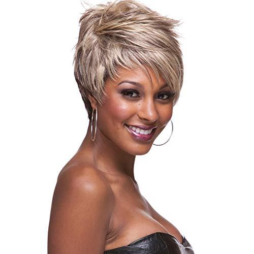 Layla Beauty Store Perücken Pixie-Schnitt Damen leicht Gewellt Synthetische Kurz Haare mit Pony Gemischte ()
