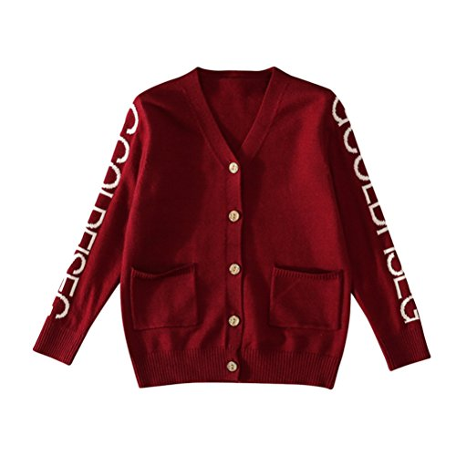 Zhuhaitf Kids Little Boys Trendy V-neck Long Sleeve Pocket Button Cable Knit Sweater Cardigan Outwear (V-neck Cable Knit Sweater)