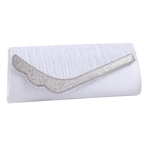 Damara Glitzernde Große Glamour Damen Clutch Abendtasche,Weiß Weiß