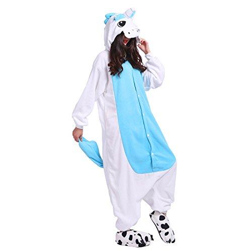PALMFOX Unicornio Pijama Animal Adulto Carnaval Ropa de Dormir Unisex Cosplay Halloween y Navidad (Azul, XL(180-190cm))