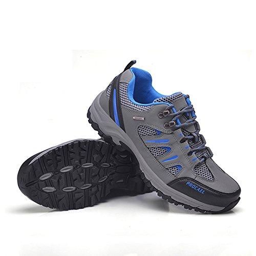 Fexkean Trekking Chaussures Randonnée Respirant Running Sport Gymnastique Escalade Chaussures Running Sneakers En Cuir Bleu / Gris