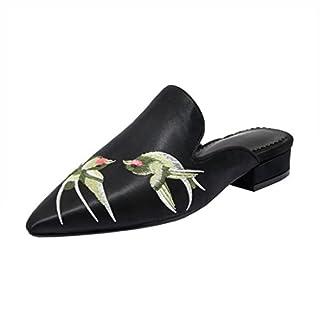 Agodor Damen Flache Slingback Pantoletten Slipper mit Stickerei und Spitze Bequeme Mules Geschlossen Loafers Outdoor Schuhe