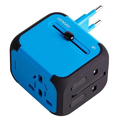 Milool universellen Reise-Adapter mit Doppel USB-Ports aus 150 Ländern weltweit US UK EU AU Universal fusionierten Sicherheit AC-in einem Ladegerät(Blau)