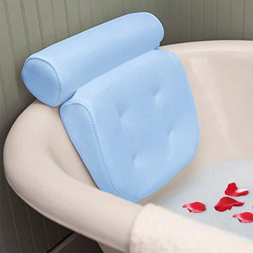 Badewannenkissen Spa, essort Badewannenkissen mit Saugnäpfen, ergonomische Home Spa Kopfstütze für Badewanne, Whirlpool, Whirlpool, Home Spa (38 X 36 X 8,5 cm) blau