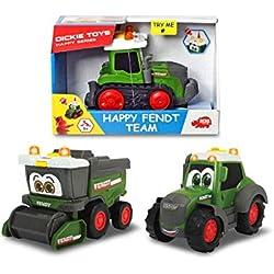 Dickie Toys 203812005 Happy Fendt Team Lot de 3 Voitures de Jeu pour Enfants à partir de 1 an, véhicule de Chantier, Tracteur, Voitures Jouets, lumière et Sons Vert