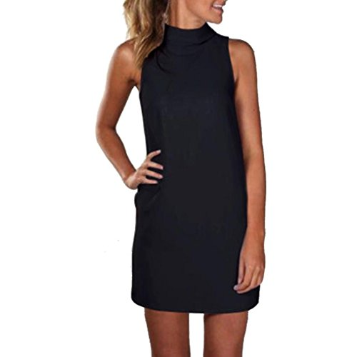 MRULIC Damen High Neck Bluse Tops Sommer Abend Party Minikleid A-Linie Rock ist einfach und bequem(Schwarz,EU-42/CN-L) (Viktorianische Weihnachts Frau Kostüm)