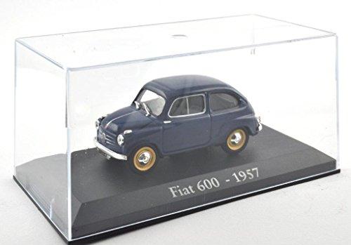 DieCast Metall Miniaturmodelle Modellauto 1:43 Oldtimer Klassiker Fiat 600 Modell blau 1957 Altaya IXO inklusive Kunststoff Vitrine