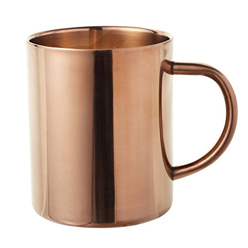 Taza de café MyLifeUNIT, de doble pared, de acero inoxidable chapado en cobre, 450 ml de cerveza aislada con acabado de cobre, acero inoxidable, champán, 8 cm Dia. x 10 cm H