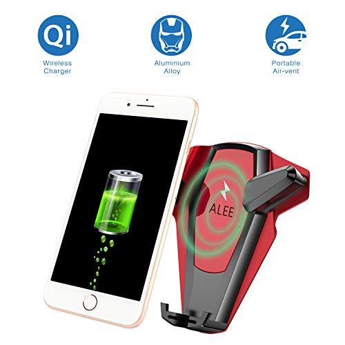 Qi Wireless Car Ladegerät Mount, alyee 5W Schnelle WLAN Ladegerät Auto Air Vent Mount Handy Halter für Samsung Galaxy S8S8Plus S7S7Edge, iPhone X/8/8Plus & andere Telefon 10,2–16,5cm