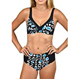 Jaminy Damen Bademode Push Up Bikini Set Zweiteilige Badeanzug Strandkleidung Strandmode S-XL (M, Blau)