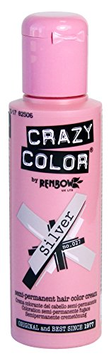 Crazy Color Semi Permanent Hair Color Cream Silver No.27 100ml , 4 Count by Crazy Color - Light Blue Hair Dye