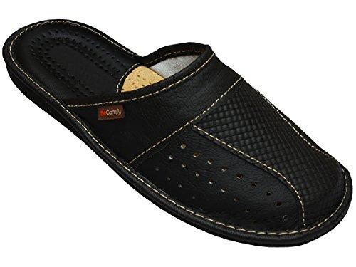 BeComfy Herren Hausschuhe | Genuine Leather | Pantoffeln aus Echtleder Schwarz Braun Rot 40 41 42 43 44 45 46 (42 EU, Schwarz)