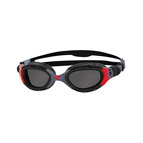 Zoggs Predator Flex Polarized Schwimmbrille, Black/Red/Smoke, One Size