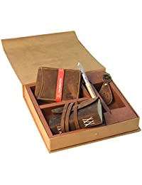 LEADERACHI Brown Combo Set (Men's Wallet, Dairy, Key Ring & Pen)
