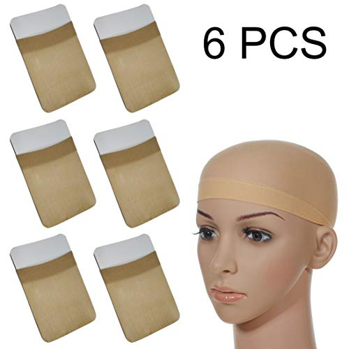 Calotte per Parrucca di Nylon Unisex Wig Caps, Calza Tappi Parrucca Hairnet Cap Protezione Della Parrucca Cap Retina per Capelli, Copricapo di Parrucche per Donne e Uomini(Nude, 6 pezzi)