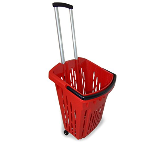Einkaufstrolley Einkaufswagen Shopper 40 Liter verschiedene Farben Einkaufskorb mit Rollen (3, rot)