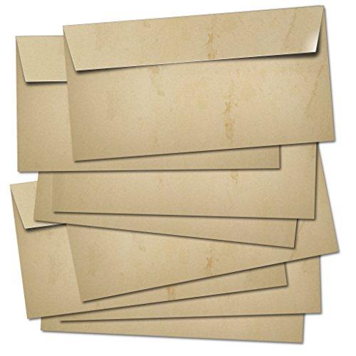 50 BUSTE POSTALI lunghe 100g/m² - adatte per A4/senza finestra/autoadesivo/colorato in design retrò vintage in beige-marrone.