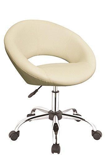 Drehstuhl mit Rollen Arbeitshocker in Creme Drehhocker mit Lehne Schreibtischstuhl höhenverstellbar Duhome 0123
