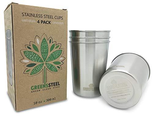 Greens Steel Taza de Acero Inoxidable de 10 oz/300ml (Paquete de 4) Vasos Copas de Metal Tumbler Apilables Premium width=