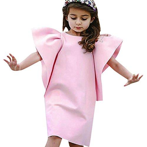 Pageantry Prinzessin Kleider Baby Mädchen Fliegender Ärmel Hochzeitskleid Einfarbig Kleider A...