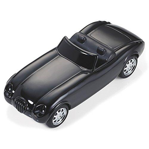 """TROIKA """"ROAD STAR"""" - GAM07/BK (Roadster im Stil der 50er Jahre)– Büroklammernhalter – Magnet – 5 Büroklammern – Rückziehmotor – glänzend schwarz"""