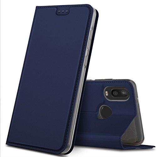 GeeMai DOOGEE X6S Hülle, Premium DOOGEE X6S Leder Hülle Flip Case Tasche Cover Hüllen mit Magnetverschluss [Standfunktion] Schutzhülle handyhüllen für DOOGEE X6S Smartphone, Blau