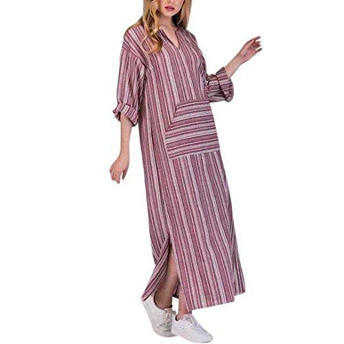 Maxikleid Langarm Damen Langes Skater Dress Elegante Kleid Button Short Blumen Kleid mode Striped Langarm Abendkleid Hemd-Kleid Cocktail Kleid LMMVP (Rot, XXXXL) (Button-hals Pullover)