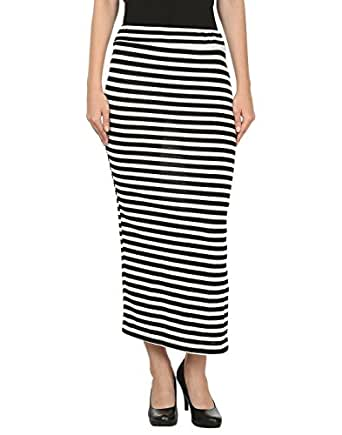 My Swag Black & White Hosiery Straight Casual Women Straight Skirt