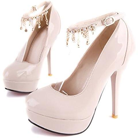 piattaforma patent leather scarpe da donna in primavera/Fine con tacchi alti super/Un strass fibbia cintura discoteche scarpe