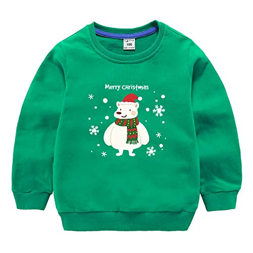 BesserBay Jungen Weihnacht Baumwolle Sweatshirts T Shirts Langarm Shirts Kinder Pullover Grün 9-10 Jahre/ Etikettengröße- 140 (Weihnachten Pullover Kinder)