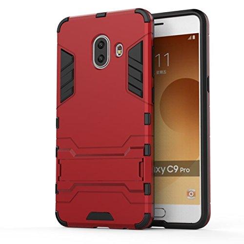 YHUISEN Galaxy C10 Fall, 2 in 1 Eisen Rüstung Tough Style Hybrid Dual Layer Rüstung Defender PC + TPU Schutzmaßnahmen harten Fall mit Stand Shockproof Fall für Samsung Galaxy C10 ( Color : Gray ) Red