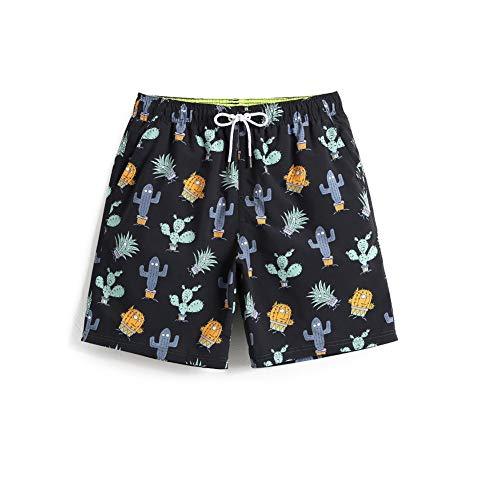 HIAO Sommer Shorts Männer Strand Polyesterfaser Sport Bequem Freizeit Urlaub Schwarz Kaktus Kaktusfeige Muster (größe : 3XL) (Kaktus Kostüm Muster)