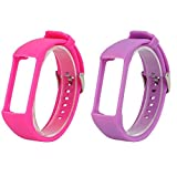For Polar A360 Wristbands, 2x Replacement Silicone Wristbands Watch Straps for Polar A360 Fitness Tracker with Wrist Heart Rate Monitor, Pink+Purple