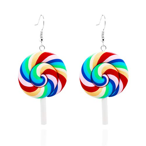 Kingus Regenbogen Lutscher Baumeln Tropfen Ohrring Lange Anhänger Ohrringe Kreatives Design Weiche Keramik Ohrring, 3#