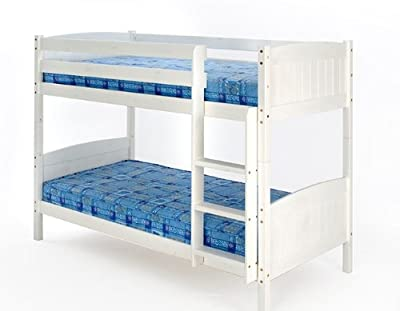 Christopher Bunk Bed in White with 2 Mattresses