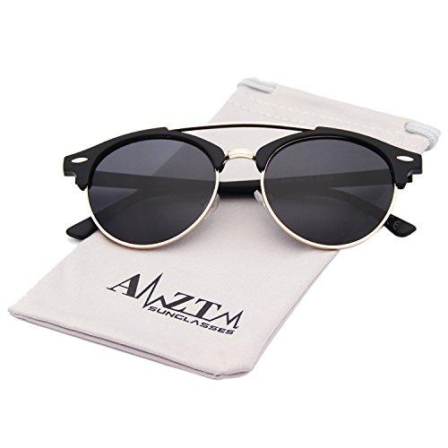AMZTM Doppelbrücke Halbrand Klassisch Retro Polarisiert Verspiegelt Rund Sonnenbrille Damen Herren