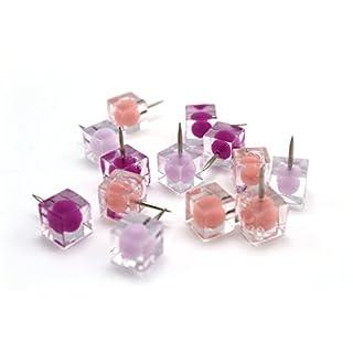 Alohha, Bunte Pinnnadeln in wiederverwendbarem Behälter, dekorative Ergänzung für Zuhause und im Büro, 80Stück Rose-Pink-Purple