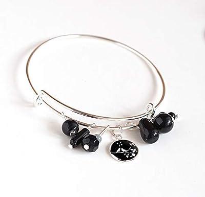 bracelet joncs, argenté, perles noires et cabochon 12 mm