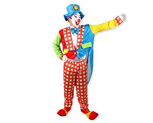 DSstyles Halloween Kostüme Lustiges Clown Kostüm für Party Kostüm mit Hut, Maske, (Perücke Mit Kostüme)
