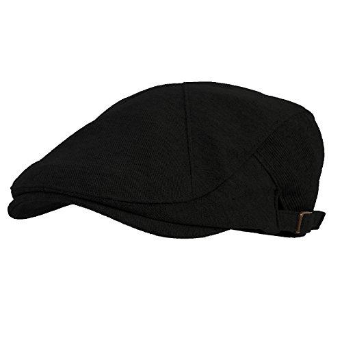 WITHMOONS Schlägermütze Golfermütze Schiebermütze Modern Cotton REAL; Newsboy Hat Flat Cap AC3045 (Black) -