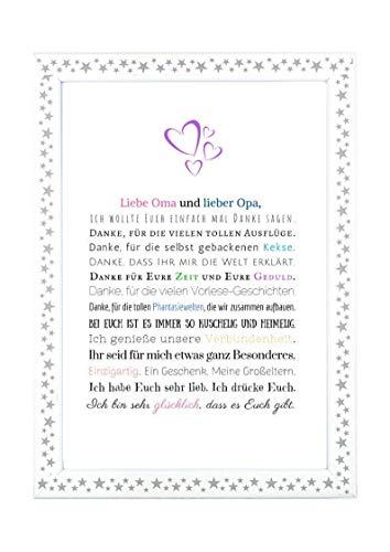 Danke Oma und Opa - Danksagung für Großeltern Bild optional mit Rahmen - Geschenk Geschenkidee Geburtstag Hochzeitstag Oma Opa Kunstdruck DIN A4