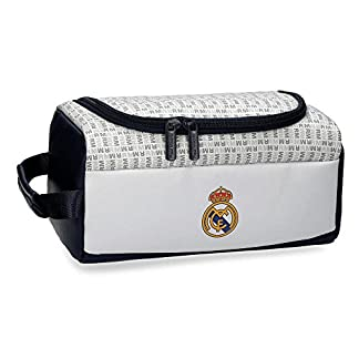 Real Madrid White RM Neceser de Viaje, 26 cm, 6.24 litros, Blanco