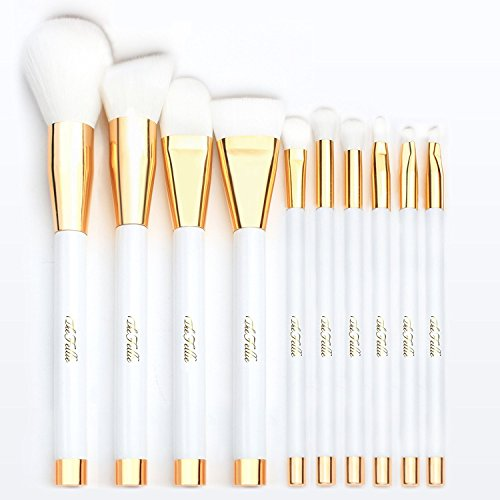 The Fellie Makeup Brush Set, Professional Foundation Blending Blush Concealer Eye Face Liquid Powder Cream Cosmetics Makeup Brushes, White Gold 10 Pieces