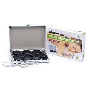 Lava-Massagesteine im Heizkoffer, Set 14 Stück, Lavasteine zur Massage von Gesicht, Rücken, Beinen und des ganzen Körpers, für Wellness und Entspannung, direktes Aufheizen der Massagesteine im Koffer.